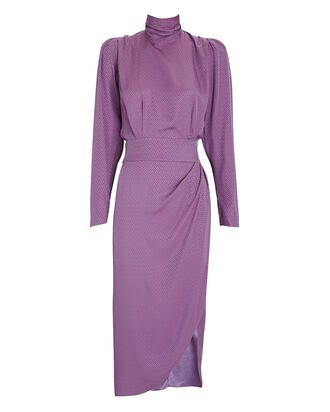 Kaira Jacquard Satin Dress, PURPLE, hi-res