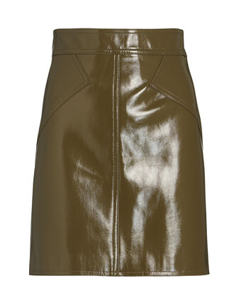 Rina Patent Leather Mini Skirt, OLIVE/ARMY, hi-res