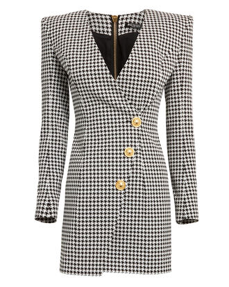 Houndstooth Wrap Blazer Dress, BLACK/WHITE, hi-res