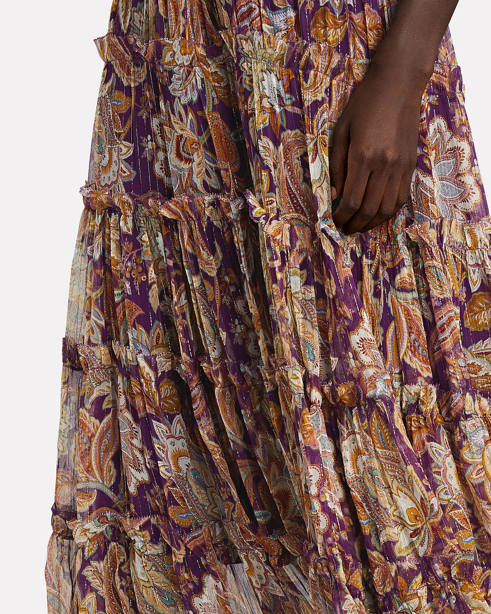 Ladybeetle Tiered Lurex Midi Skirt, PURPLE/ORANGE, hi-res
