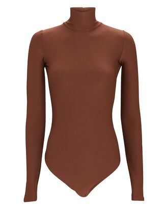 Libby Turtleneck Open Back Bodysuit, BROWN, hi-res