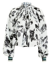 Gothic Floral-Printed Top, WHITE/BLACK, hi-res