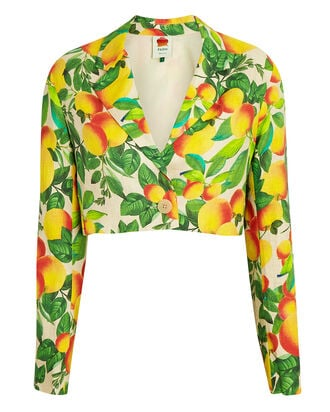 Orange Sands Cropped Linen Blazer, YELLOW/GREEN, hi-res