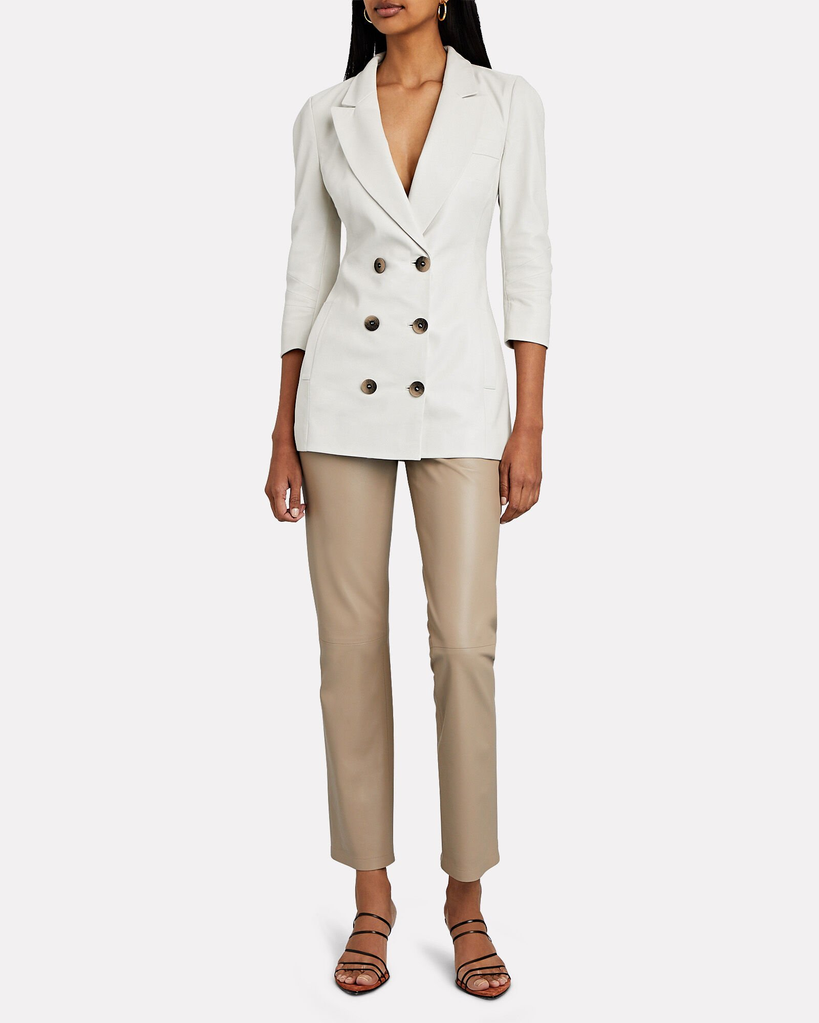 Double-Breasted Leather Blazer, WHITE, hi-res