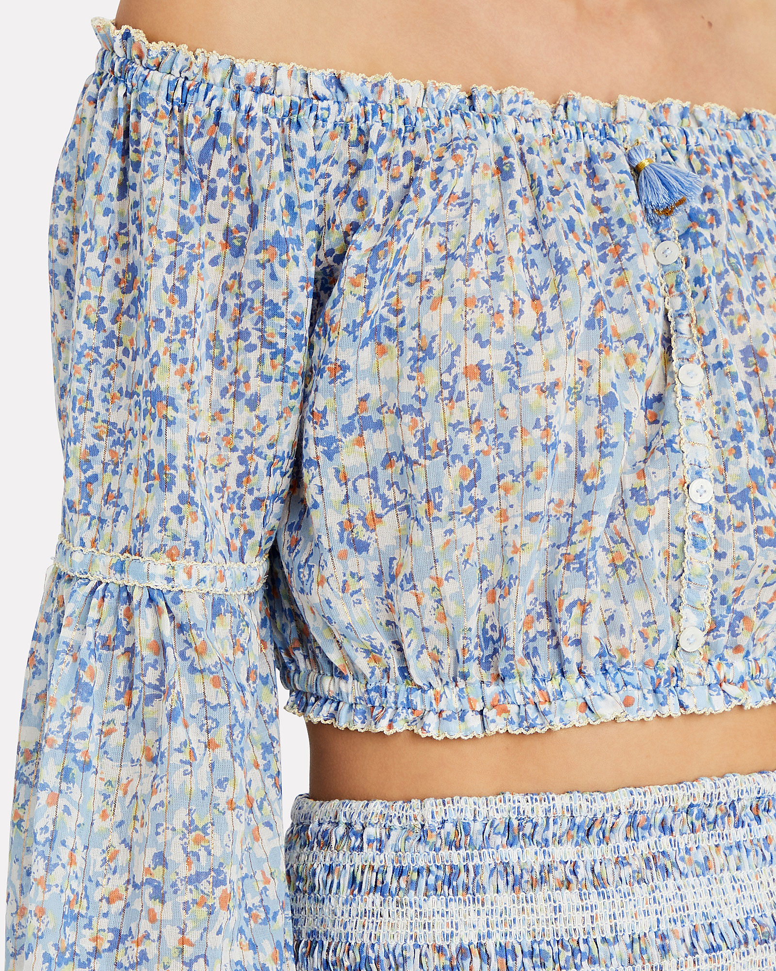 Rachel Off-the-Shoulder Crop Top, PALE BLUE, hi-res