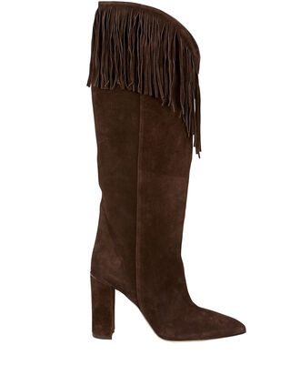 Knee-High Fringe Western Boots, BROWN, hi-res