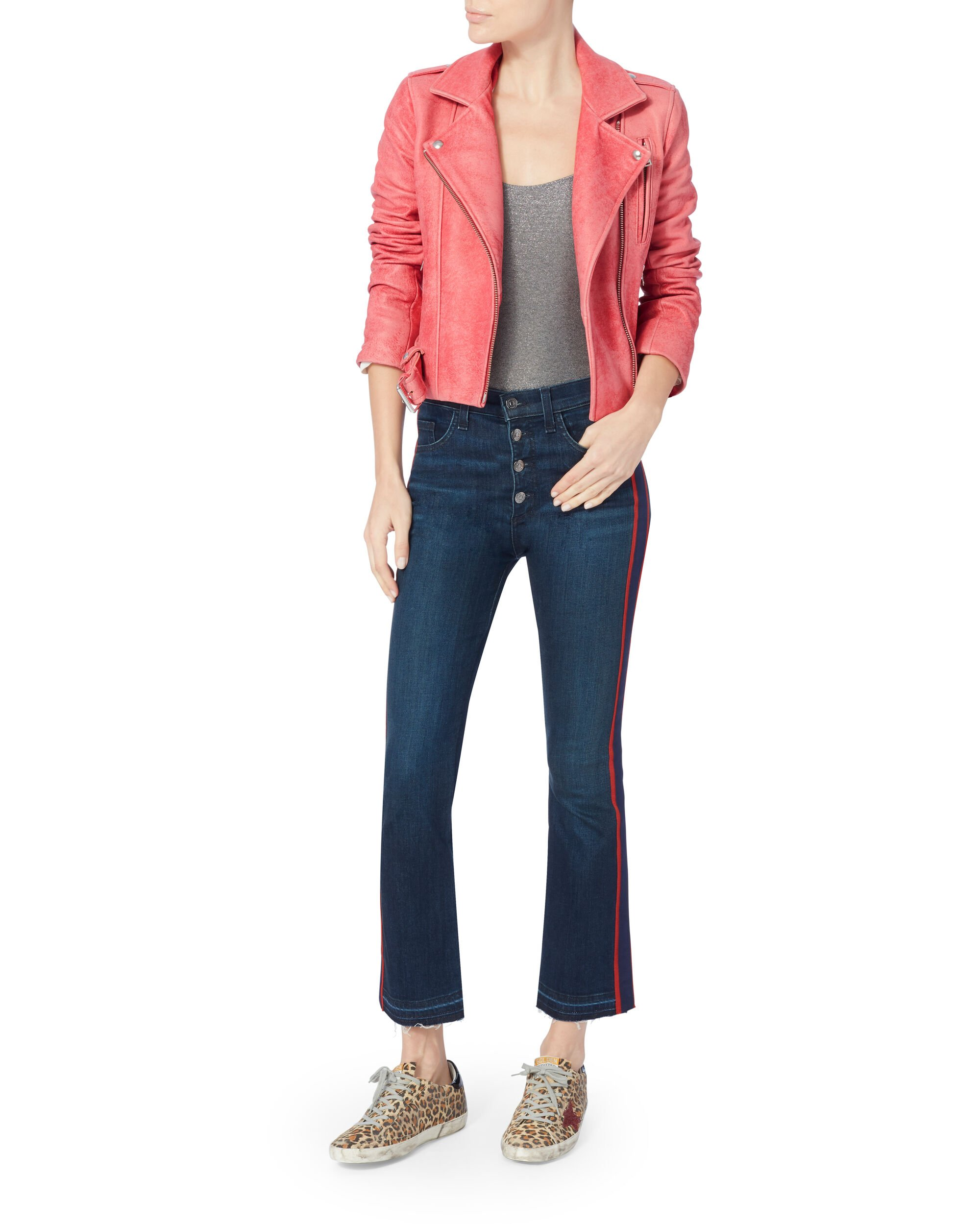 Leah Combo Leather Jacket, PINK, hi-res