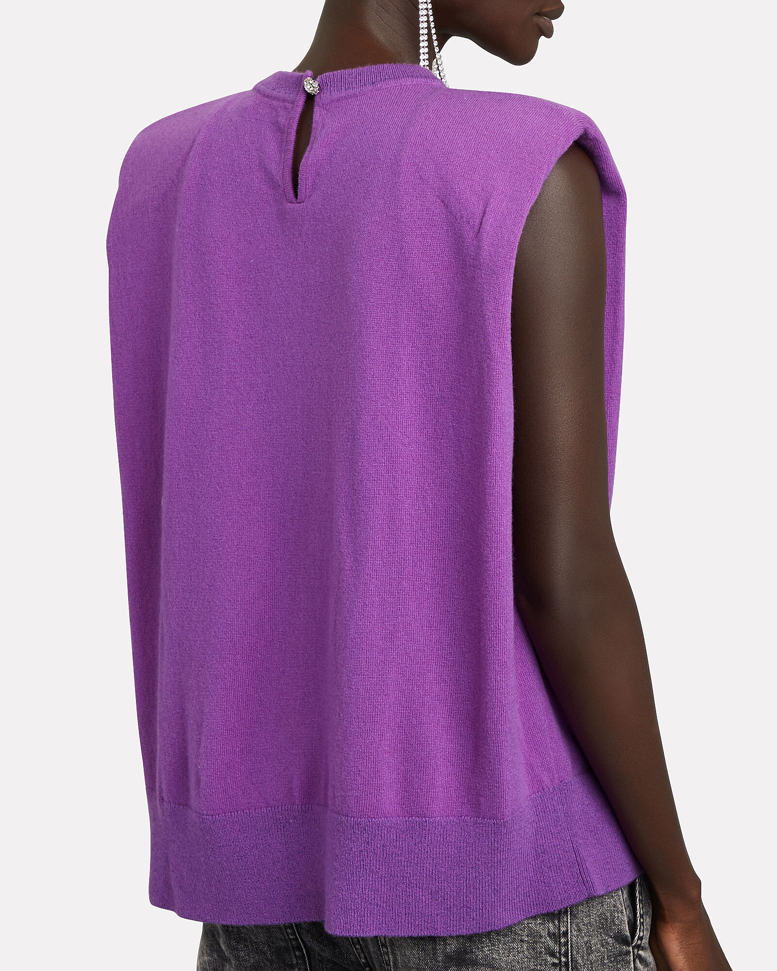 Jaitlin Padded Shoulder Sweater, PURPLE, hi-res