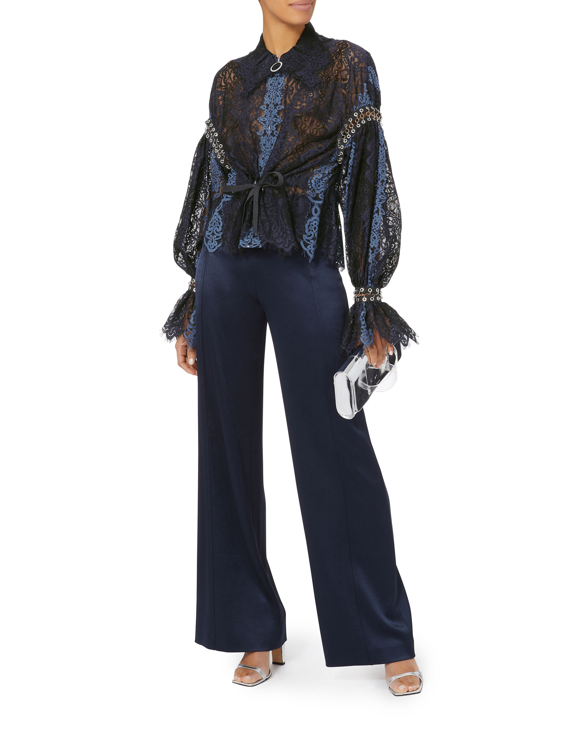 Grommet Lace Jacket, BLUE-DRK, hi-res