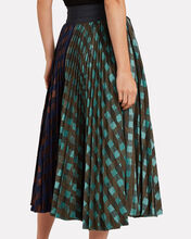 Dianella Mixed Check Pleated Skirt, GREEN, hi-res