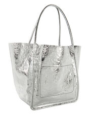 Metallic Leather Extra Large Tote, SILVER, hi-res