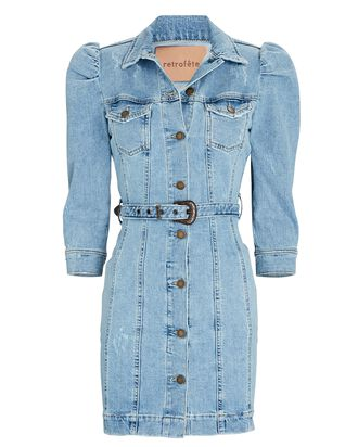 Lema Puff Sleeve Denim Dress, LAGUNA, hi-res