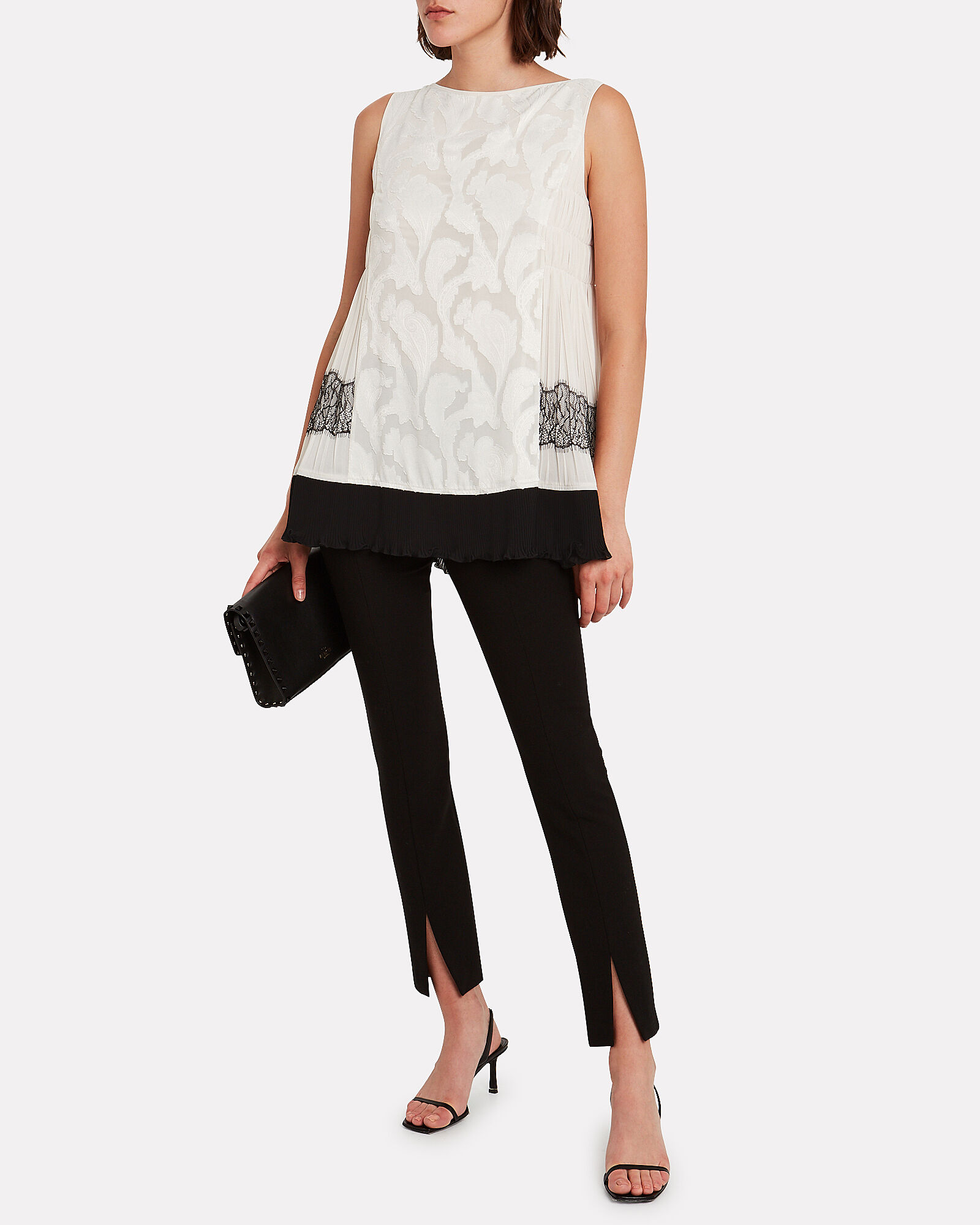Lace-Trimmed Satin Top, IVORY, hi-res