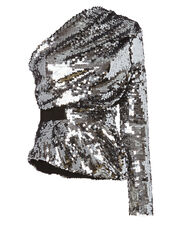 Silver Sequin One Shoulder Top, METALLIC, hi-res
