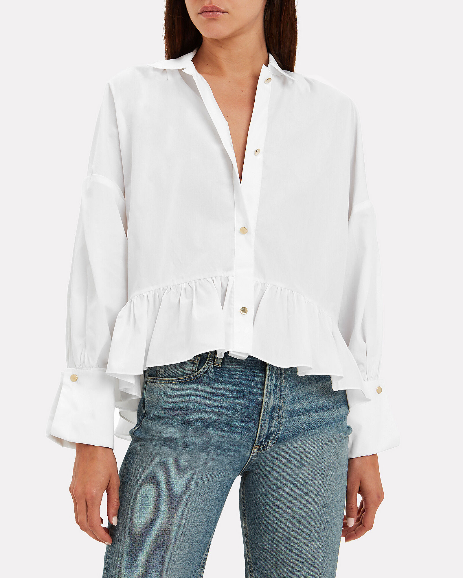 Penny Cotton Poplin Shirt, WHITE, hi-res
