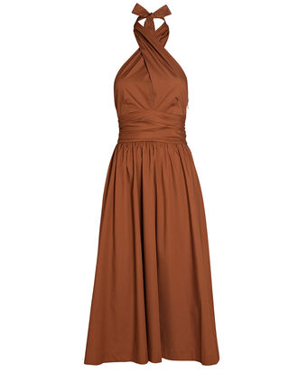 Moana Halter Cotton Dress, Brown, hi-res