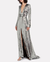 Stardust Deep V Sequin Gown, SILVER, hi-res