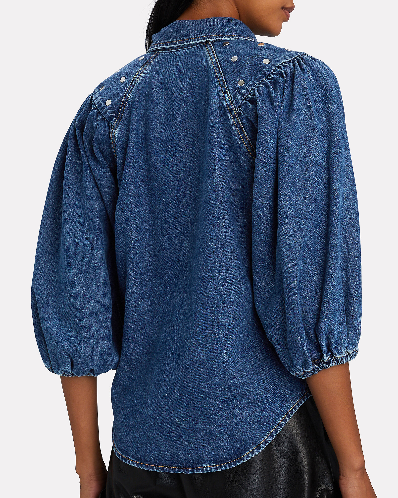 Studded Denim Puff Sleeve Shirt, DENIM, hi-res
