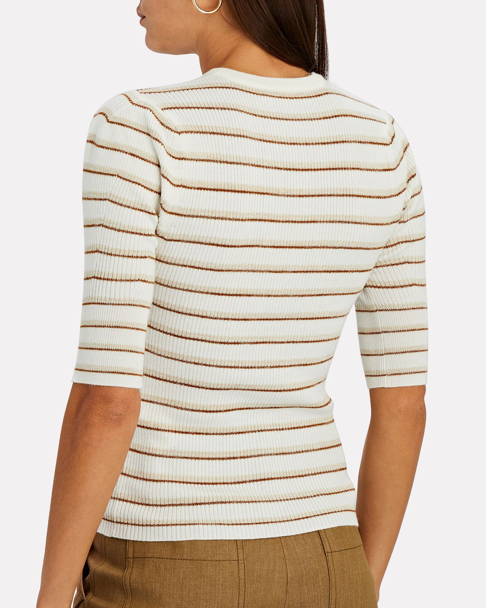 Striped Rib Knit Femme Top, MULTI, hi-res
