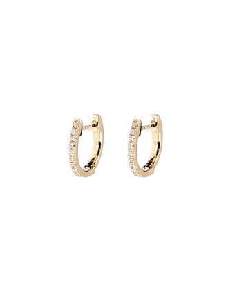 Mini Diamond Huggie Hoop Earrings, GOLD, hi-res