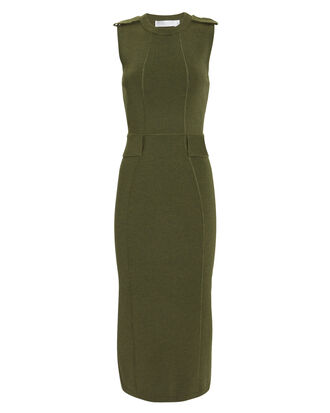 Olive Knit Midi Dress, OLIVE/ARMY, hi-res