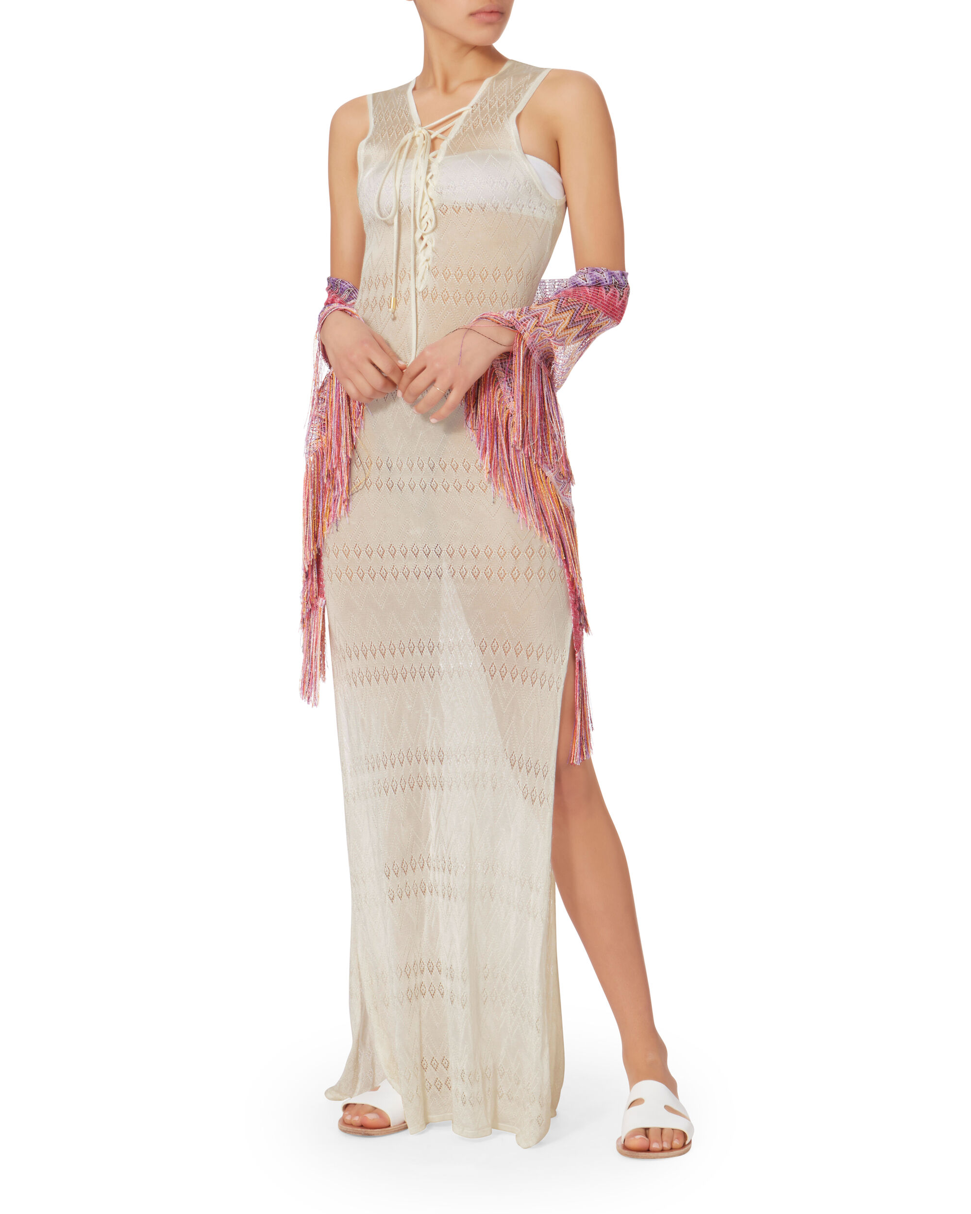 Kourtney Lace-Up Maxi Dress, WHITE, hi-res