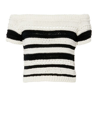 Yulani Off Shoulder Knit Top, BLK/WHT, hi-res