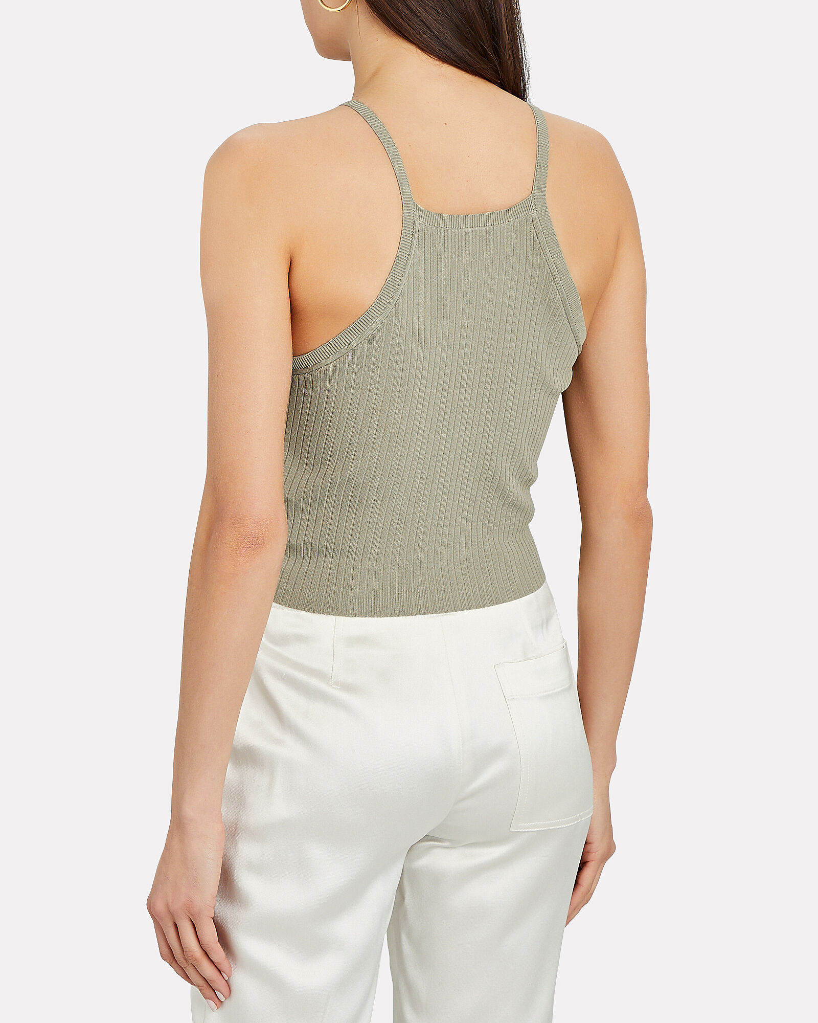 Cropped Rib Knit Tank Top, GREEN, hi-res