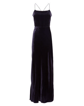 Shine Velvet Slip Dress, BLACK, hi-res