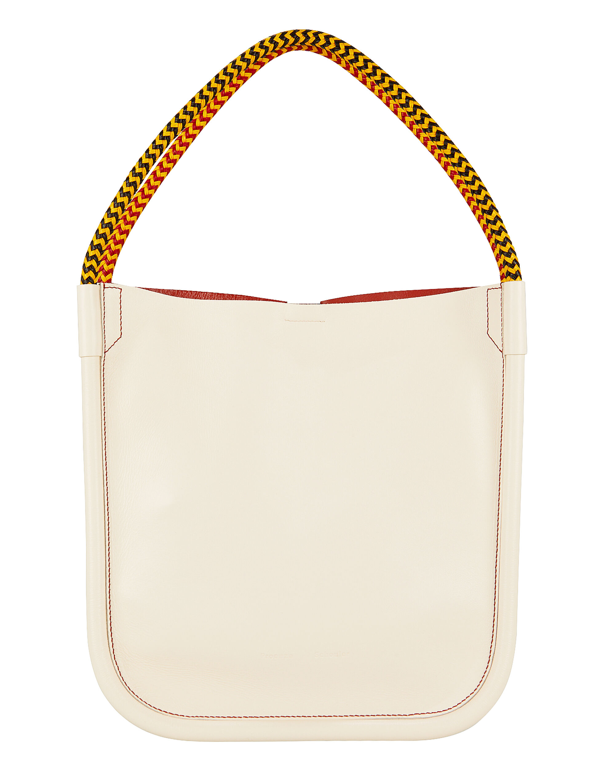 Lux Rope Handle L Tote, WHITE LEATHER/BLACK/RED, hi-res