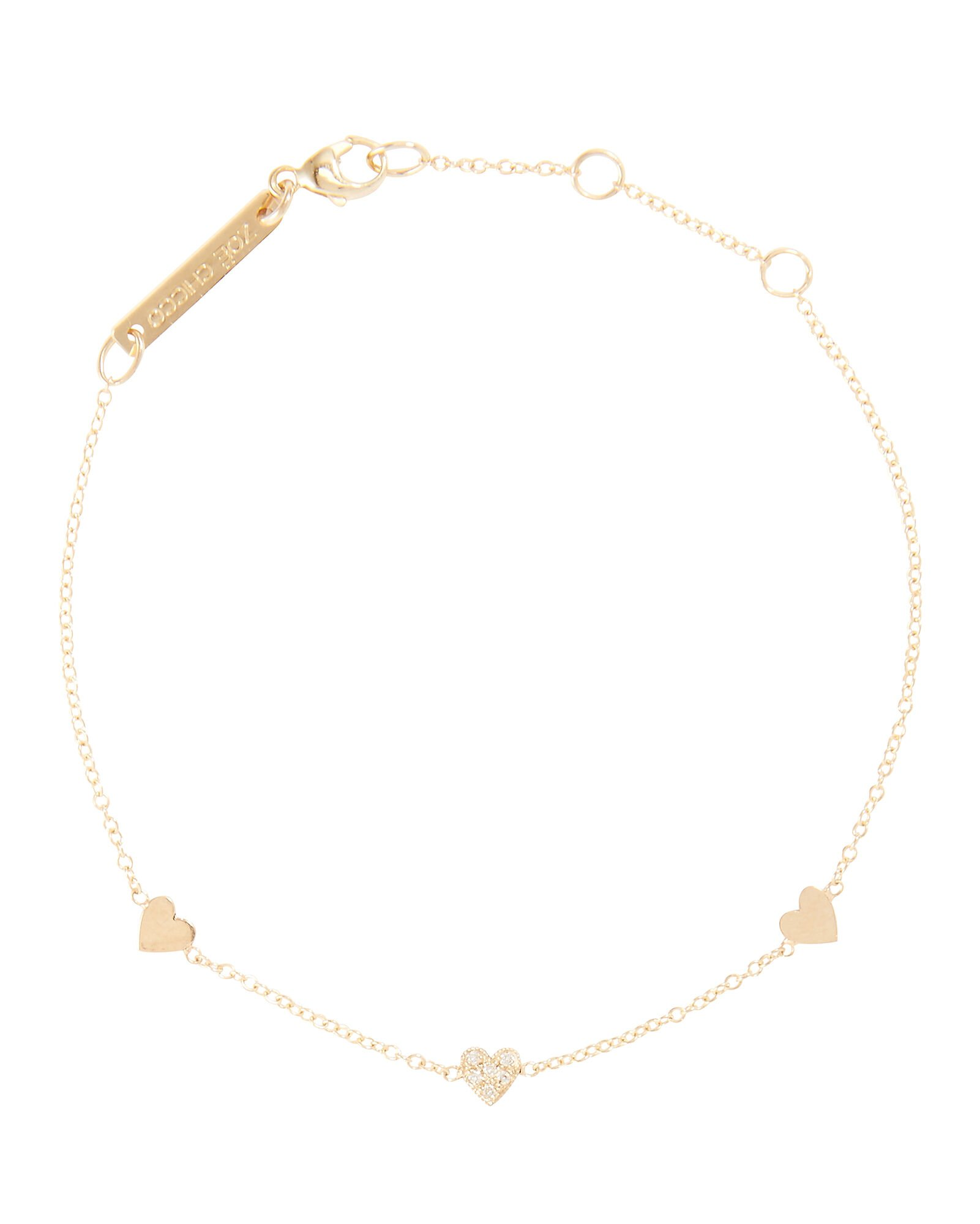 Itty Bitty Heart Bracelet, GOLD, hi-res