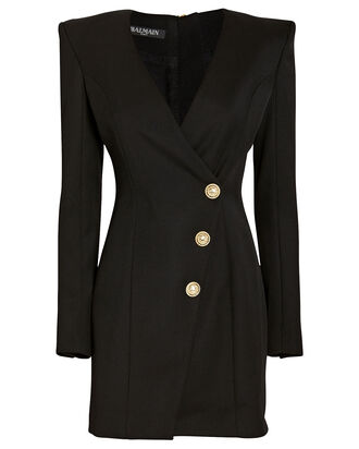 Wool Wrap Blazer Dress, BLACK, hi-res