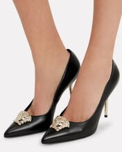 Medusa Black Leather Pumps, BLACK, hi-res