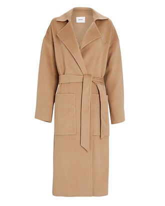 Alamo Silk-Wool Wrap Coat, BEIGE, hi-res