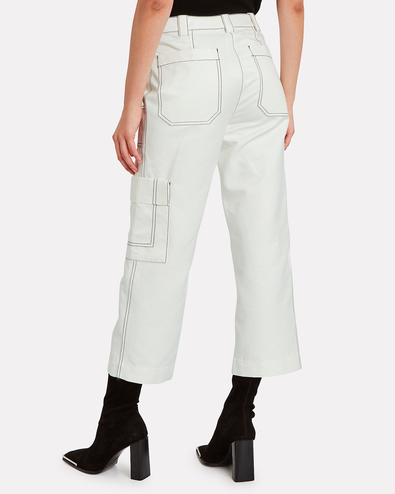 Cropped Cotton-Blend Twill Cargo Pants, IVORY, hi-res