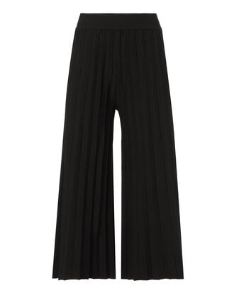 Pleated Cropped Pants, BLACK, hi-res