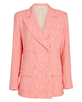 Saskia Double-Breasted Jacquard Blazer, PINK, hi-res