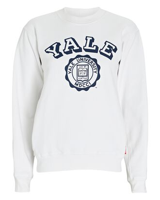 Yale Cotton Sweatshirt, WHITE, hi-res