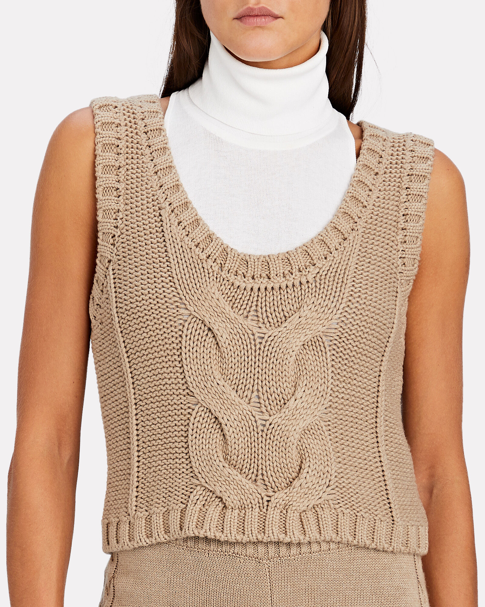 Kind Cable Knit Sleeveless Sweater, BEIGE, hi-res