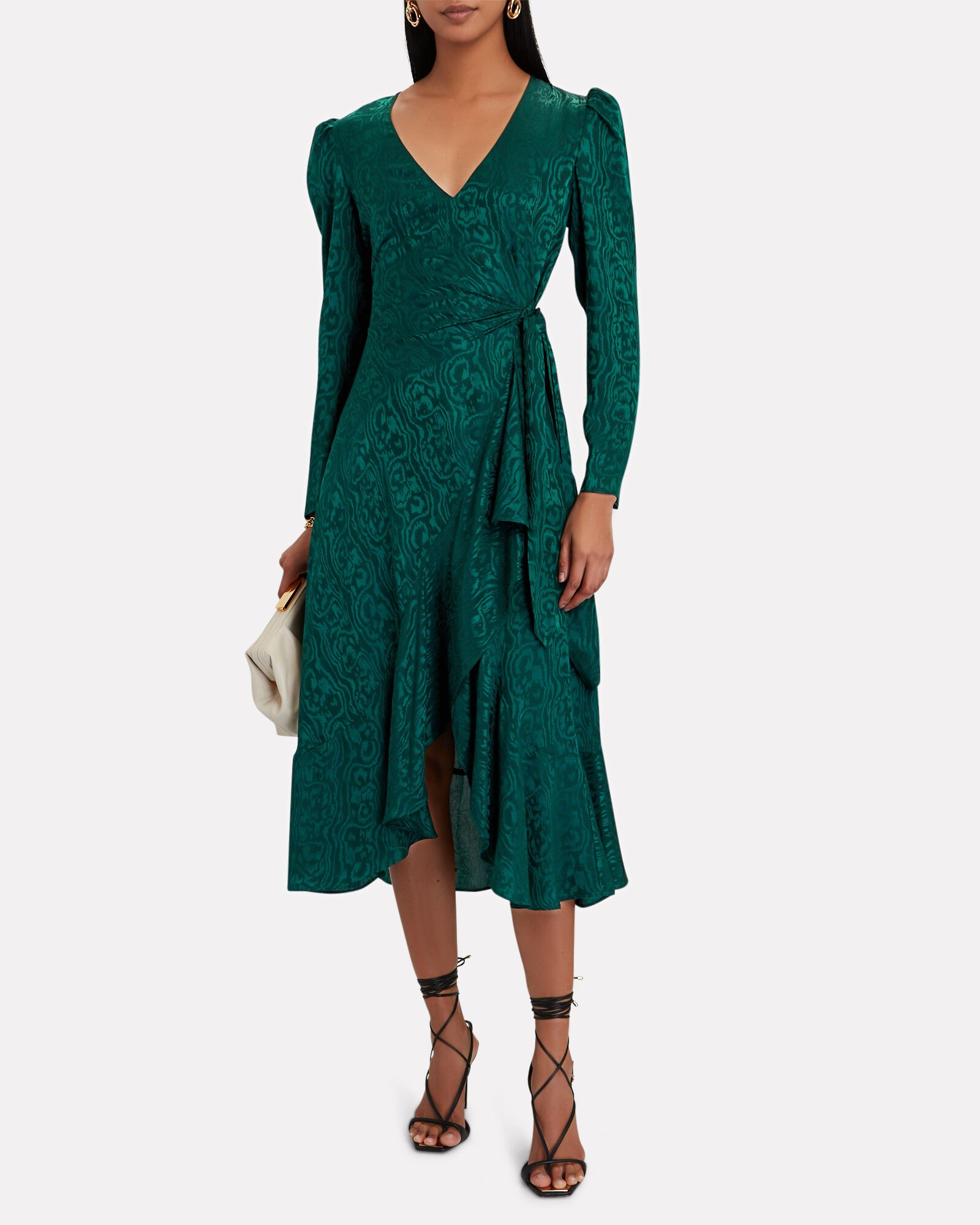 Birdie Moiré Midi Wrap Dress, GREEN, hi-res