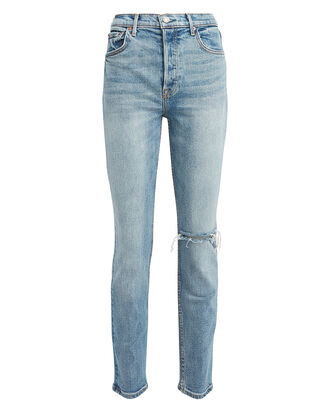 Karolina Slim High-Rise Jeans, LIGHT WASH DENIM, hi-res