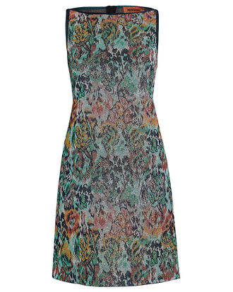 Lurex Floral Mini Shift Dress, GREEN, hi-res
