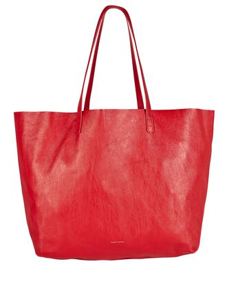 Oversized Leather Tote Bag, RED, hi-res