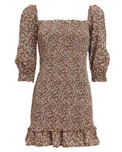Es Saada Floral Smocked Mini Dress, BROWN/FLORAL, hi-res