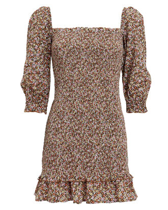 Saada Floral Smocked Mini Dress, BROWN/FLORAL, hi-res