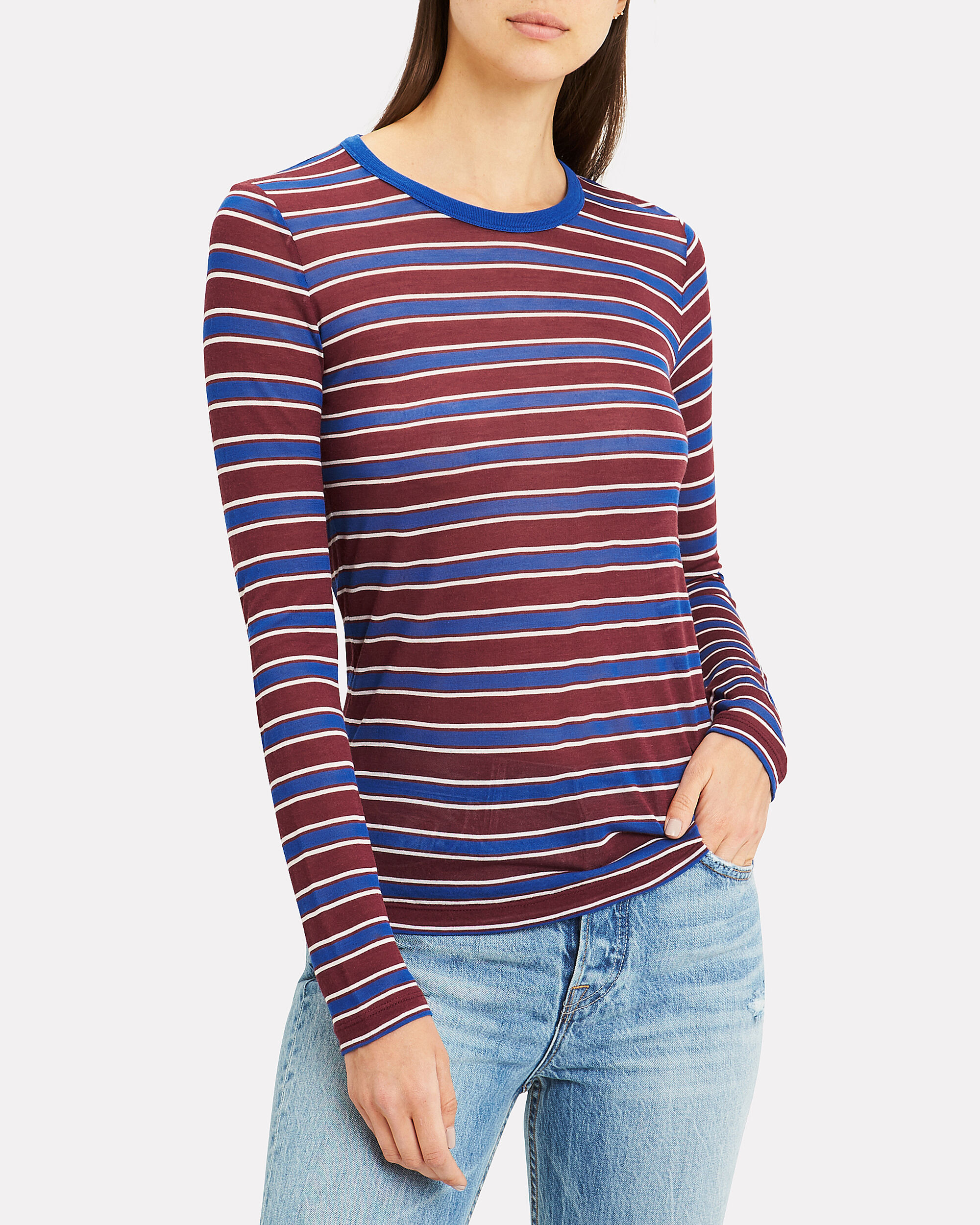 Avery Stripe Top, BURGUNDY/BLUE/STRIPE, hi-res