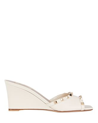 Rockstud Leather Wedge Sandals, IVORY, hi-res