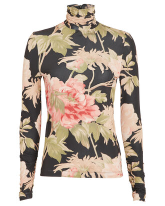 Espionage Floral Jersey Turtleneck, BLACK/FLORAL, hi-res