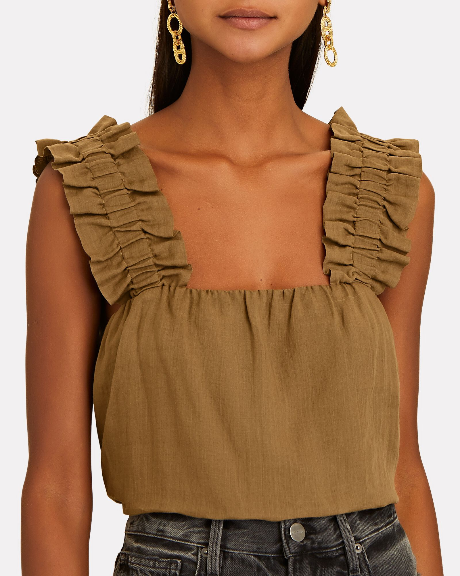 Ruffled Ramie Tank Top, OLIVE/ARMY, hi-res