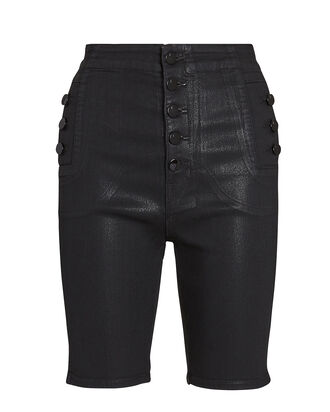 Natasha Coated Denim Shorts, BLACK, hi-res